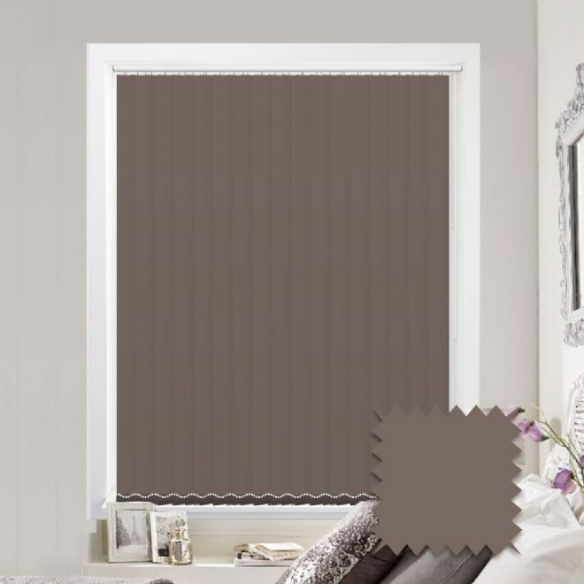 Made to measure vertical blinds in Splash Portobello plain fabric - Just Blinds